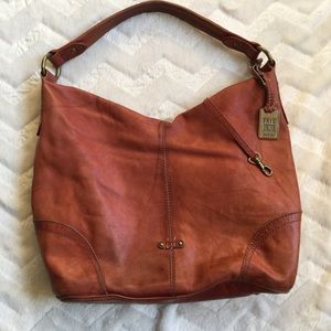 Frye Campus Rivet Hobo Pecan Slouchy Leather Bag